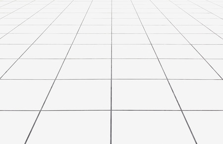 mosaic floor: White tile floor clean condition with geometric line for background. Stock Photo
