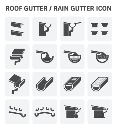 drainage: Roof gutter for drainage system vector icon set design.
