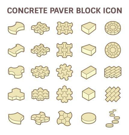 road paving: Concrete paver block floor vector icon set.