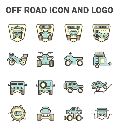 4wd: Vector icon and logo design of off-road vehicle.