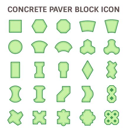 stone floor: Concrete paver block floor vector icon set.
