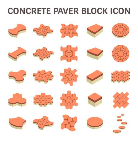 concrete block: Concrete paver block floor vector icon set.