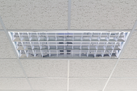 fluorescent: Ceiling and lighting inside office building. Stock Photo