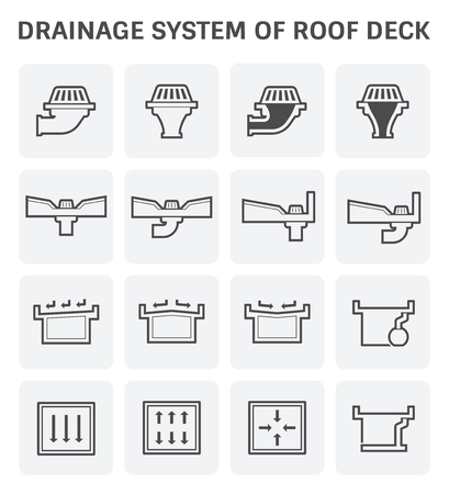 drainage: Vector icon design of roof deck drainage system. Illustration