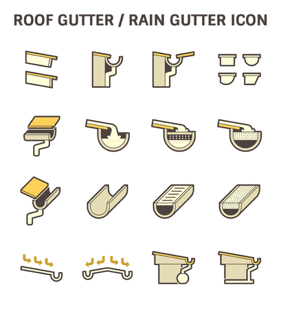 drainage: Roof gutter for drainage system vector icon set design