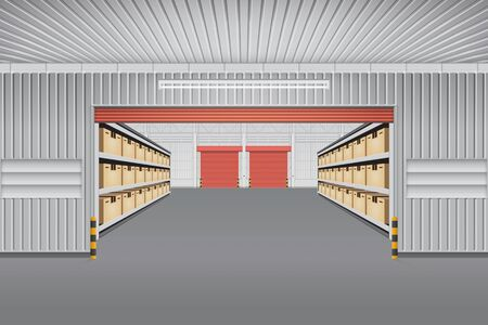 factory floor: Interior of warehouse building with cargo container box on shelves for background.