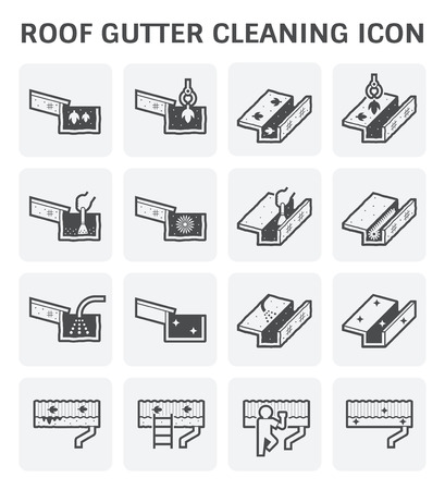 gutter: Roof gutter cleaning and maintenance vector icon.