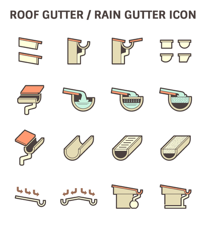 roofing system: Roof gutter for drainage system vector icon set design.