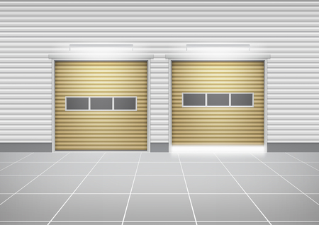 Vector of roller shutter door and concrete floor outside factory building for industrial background.