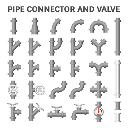 oil and gas industry: Vector icon of steel pipe connector and valve for plumbing work.