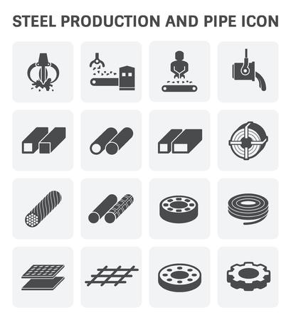 L'ensemble d'icônes vectorielles de l'industrie de l'acier et des métaux.