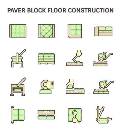 paving stones: Paver block brick floor and construction work vector icon set design.