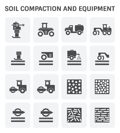 compacting: Vector icon of soil compaction and equipment for construction work.