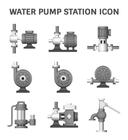 submerged: Vector icon of electric water pump and agriculture equipment for water distribution isolated on white background. Illustration