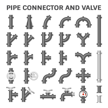 steel construction: Vector icon of steel pipe connector and valve for plumbing work.