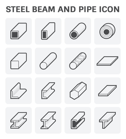 steel construction: Vector icon of steel pipe and beam product  for construction industry work.