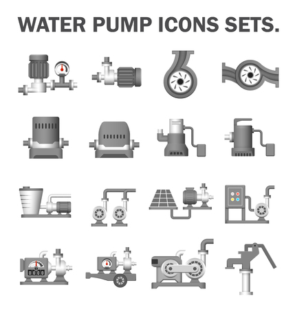 icône de vecteur de pompe électrique de l & # 39 ; eau et de l & # 39 ; équipement de l & # 39 ; eau pour l & # Vecteurs