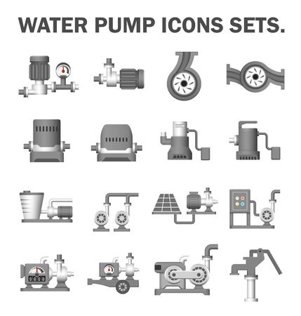 icono del vector de la bomba de agua eléctrica y equipo agrícola para la distribución de agua aisladas sobre fondo blanco. Ilustración de vector