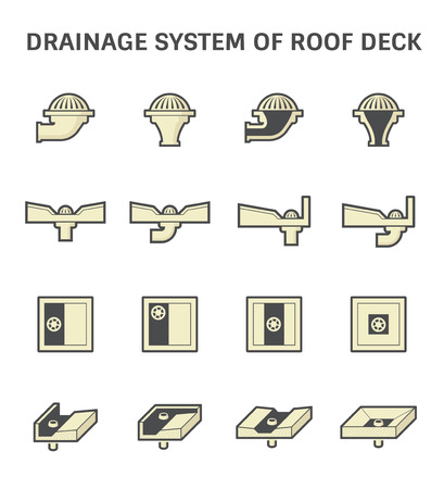 slopes: Vector icon design of roof deck drainage system. Illustration