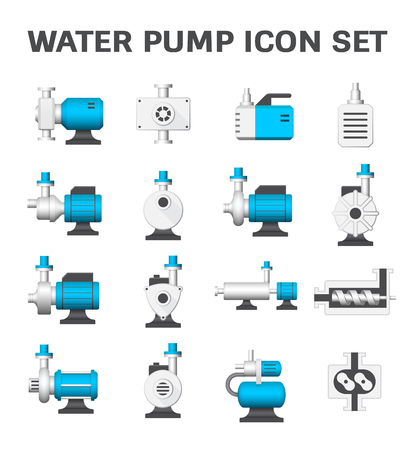 Vector icon of electric water pump and agriculture equipment for water distribution isolated on white background. Vettoriali