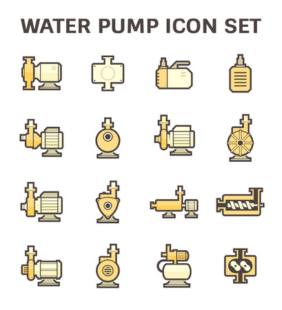 sewage system: Vector icon of electric water pump and steel pipe for water distribution isolated