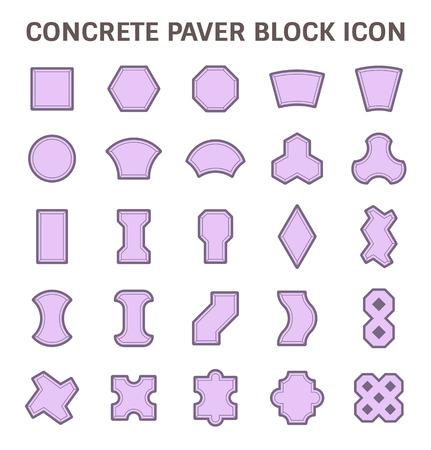 Concrete paver block floor vector icon set.