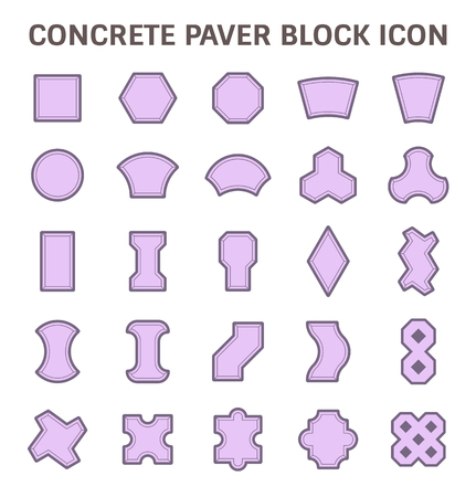 Concrete paver block floor vector icon set.