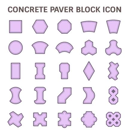 insieme concreto blocco finitrice piano set di icone.