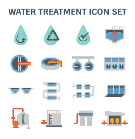Waterzuiveringsinstallatie en waterfilter vector icon set design.