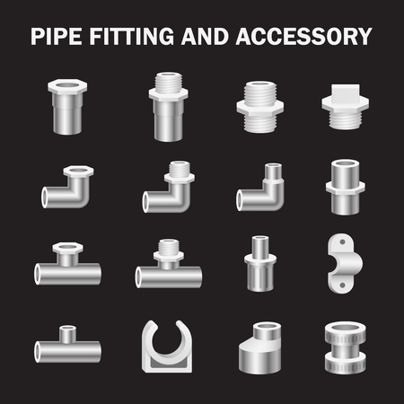 metal parts: Vector icon of pipe fitting or pipe connector for plumbing and piping work. Illustration