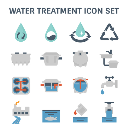 Water treatment plant and septic tank vector icon set. Stock Illustratie
