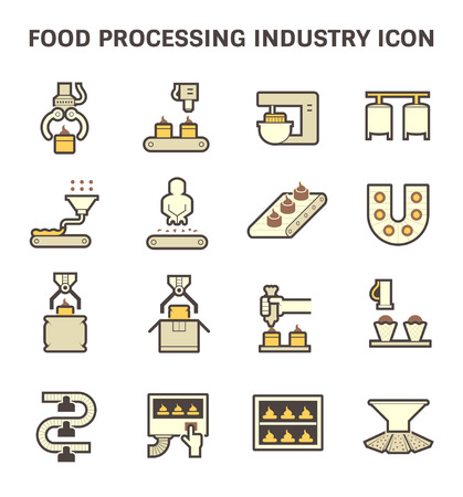 food industry: Food processing industry and production line inside factory vector icon.