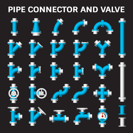 sewer: Vector icon of steel pipe connector and valve for plumbing work.