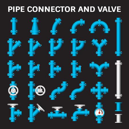 Vector icoon van de stalen pijp connector en ventiel voor loodgieterswerk.