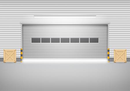 shutter door: Vector of roller shutter door and concrete floor outside factory building for industrial background.