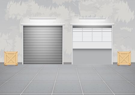 shutter door: Roller shutter door and concrete floor outside factory building for industrial background.
