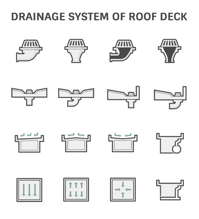 Vector icon design of roof deck drainage system. Illustration