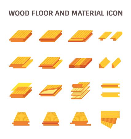 Modèle de plancher de bois et conception de jeu d'icônes de vecteur matériel.