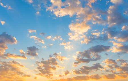 Sunset and cloud in sky for background. Stock Photo