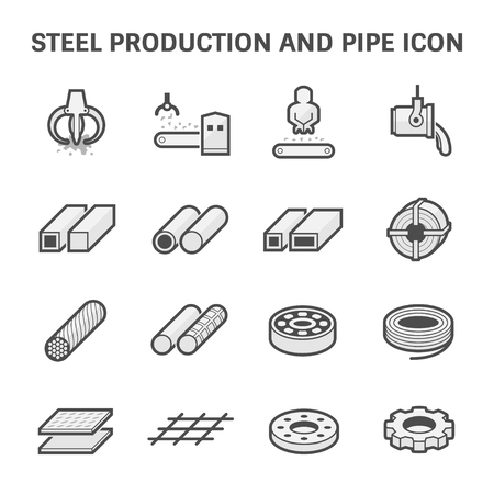 Vector icon of steel pipe and metal product  for construction industry work. Vectores