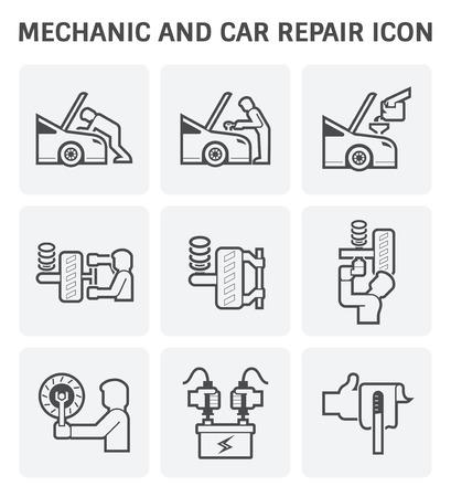icon: Mechanic and car repair service vector icon set design.