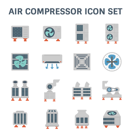 Air conditioner and air compressor vector icon set.