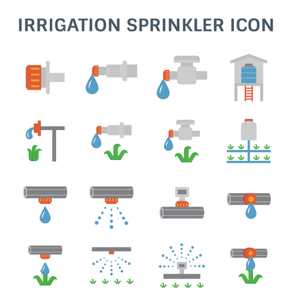 Automatic water sprinkler and irrigation system for garden and lawn. Illustration