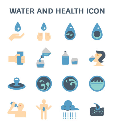 Water drinking and health vector icon set design.