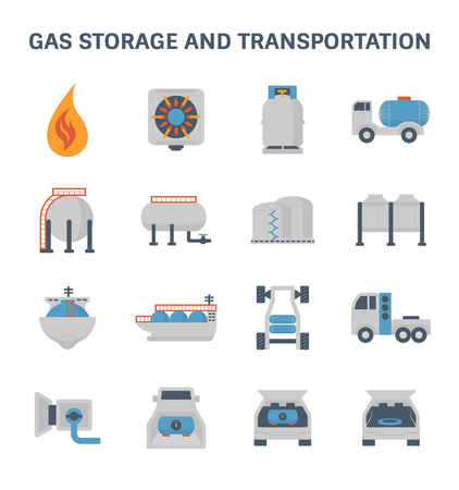 stove pipe: Gas storage and transportation vector icon set.