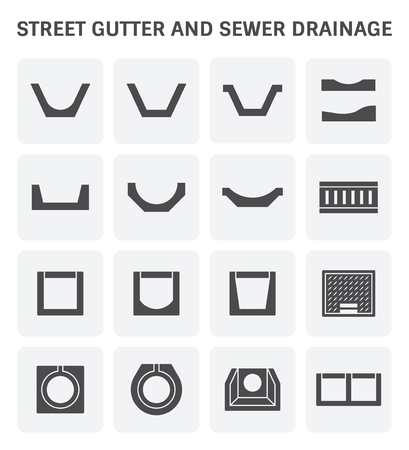 sewage system: A vector icon of street gutter or road gutter and sewer drainage.