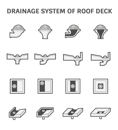 roofing system: Vector icon design of roof deck drainage system. Illustration