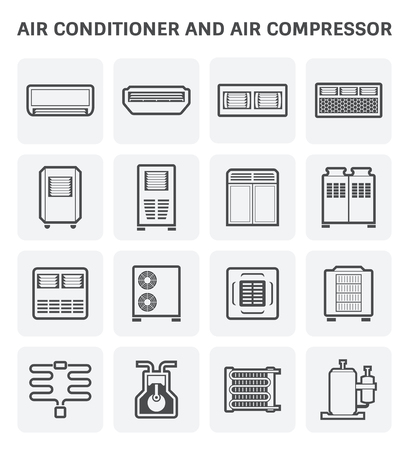 Vector icon of air conditioner and air compressor part of hvac system. Ilustrace
