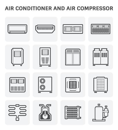 Vector icono de acondicionador de aire y compresor de aire parte del sistema de climatización. Ilustración de vector
