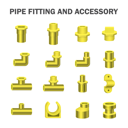 Vector icon of pipe fitting or pipe connector for plumbing and piping work. Illustration